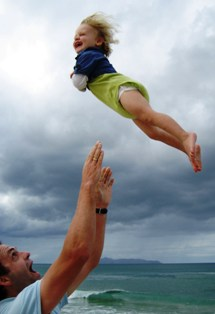 child in air